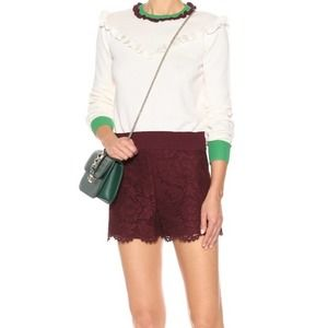 Ambiance Maroon Lace High Rise Shorts